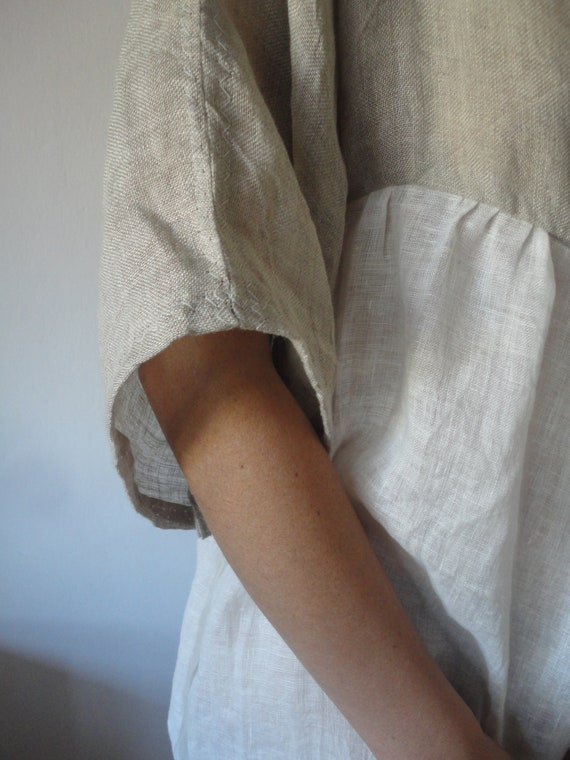 linen gauze DRESS (summer, kimono sleeves) _ with raw or plain edge, hand made from very light linen gauze in natural and / or white