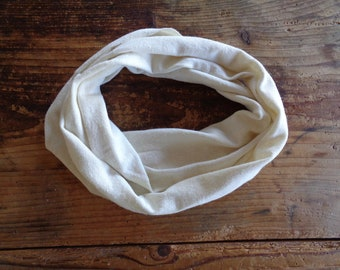 soft hemp LOOP / SCARVE, hand made from soft hemp jersey in creme / off white (raw edge)