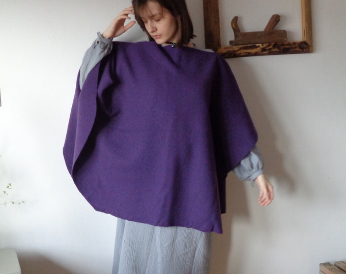 Featured listing image: warm organic wool PONCHO _ round, hand made from firm heavy  organic wool felt in different colors
