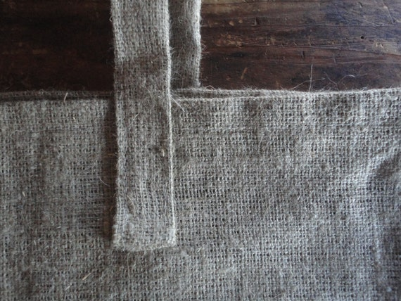 raw LINEN burlap shopper / market bag / over the shoulder bag, hand-made from very heavy and rough / raw linen burlap