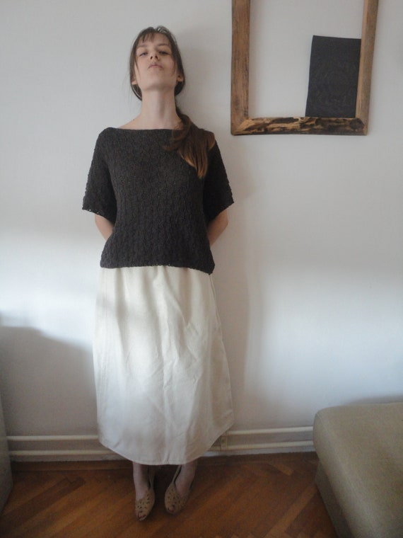 knitted cotton TOP / TEE / SWEATER, hand knitted from very soft cotton in choco brown or other colors / color combinations
