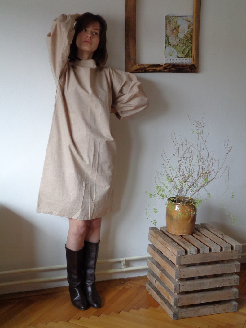 with baloon sleeves short, midi, long made from organic cotton brown, beige simple organic cotton TOP  TUNIC  DRESS