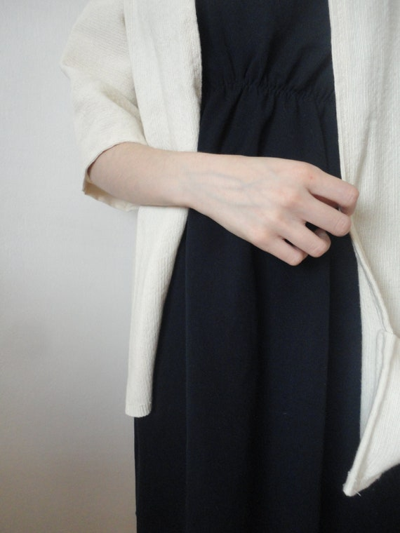 raw cotton JACKET / COAT / VEST (with short, midi or long sleeves / with front pockets or without ), handmade from rough cotton in off white