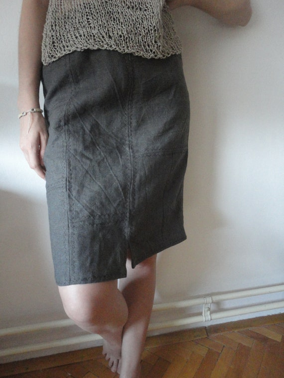 patched linen SKIRT (short, midi, long) with hidden pocket or without, handmade from heavy linen in different colors