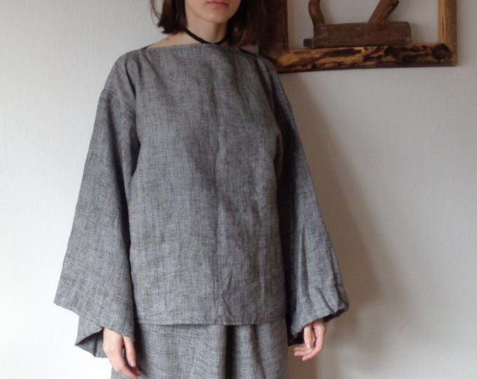 Featured listing image: OUTFIT 9 // winter 2020: linen-wool skirt + linen-wool top (kimono or gathered sleeves) + wool-linen tote (size M)