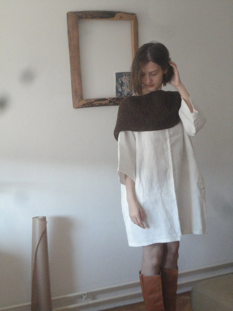 linen tunic DRESS short midi long / with pockets or without image 0