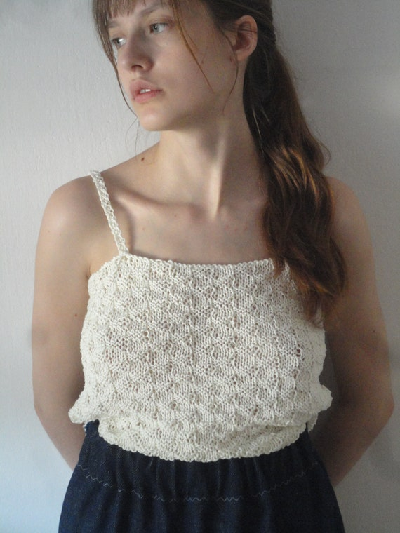 knitted cotton TOP / DRESS, hand knitted from very soft cotton in different colors / color combinations / patterns