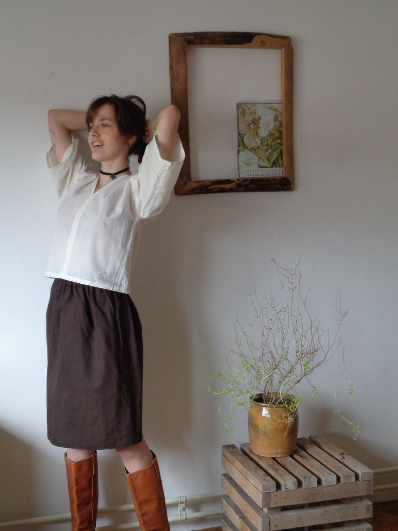 organic cotton TOP / BLOUSE with v-neck and kimono sleeves image 0