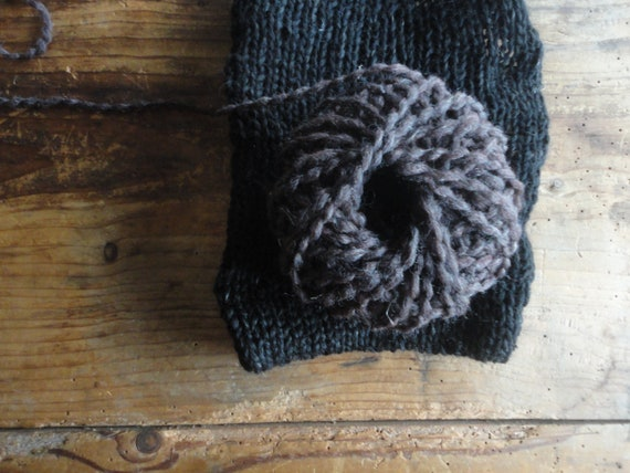 soft wool-ramie-hemp BLANKET / THROW, hand knitted from very soft yarn in black or brown color in different patterns