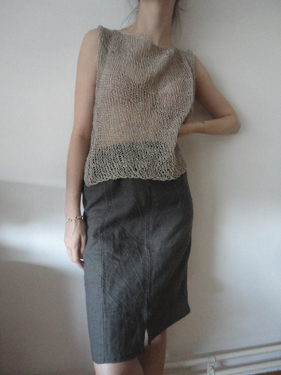 OUTFIT nr. 30 // patched linen skirt with light knitted linen top and wrap/shawl and tote in same color of heavy linen (SPRING/AUTUMN 2019)