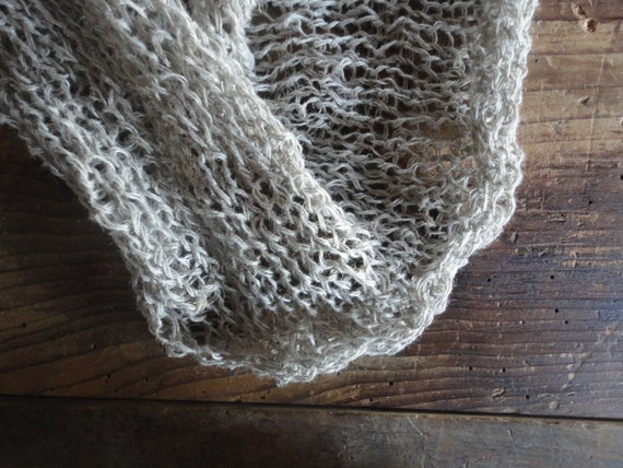 very light wrinkled knitted LINEN shawl / scarve / wrap, hand knitted from natural linen thread _ it can be made also as loop