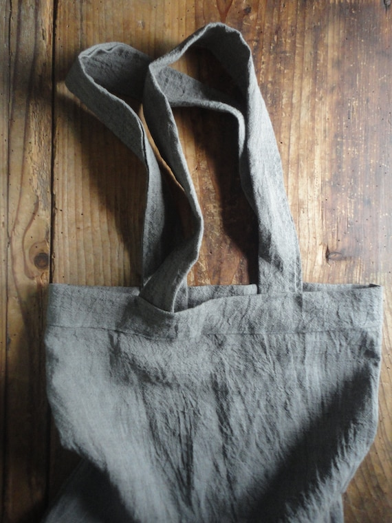 crinkled LINEN tote / market bag _ big, hand-made from midi weight crinkled / wrinkled linen in different colors