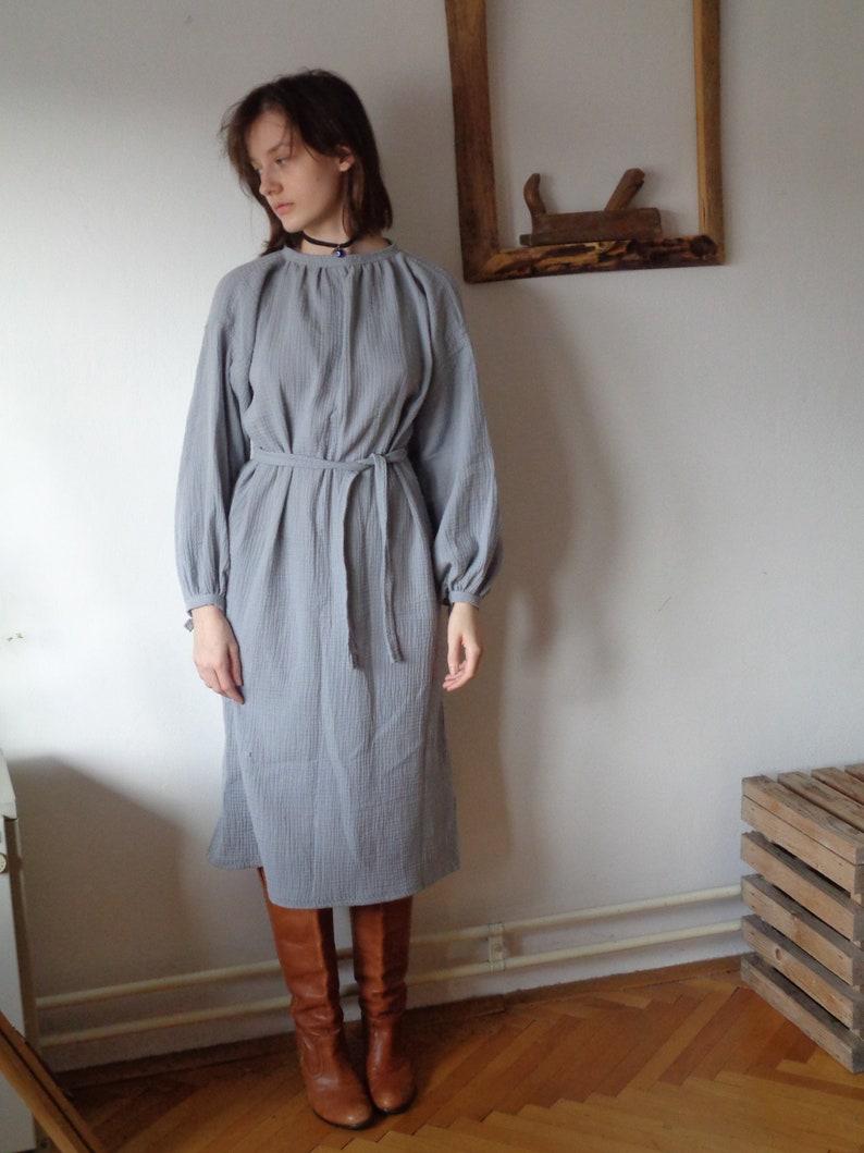 double gauze DRESS round neck and gathered sleeves with image 1