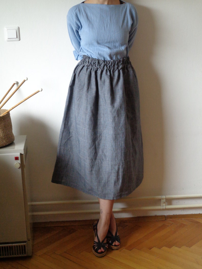 plaid linen-silk SKIRT short midi long with elastic waist image 1