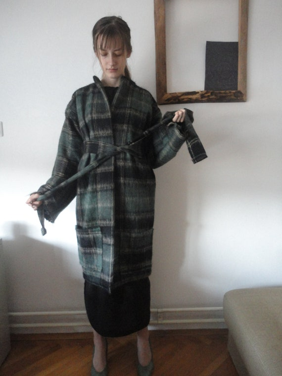 wool mohair COAT (short, midi, long / with pockets or without) with belt, handmade from heavy wool / mohair