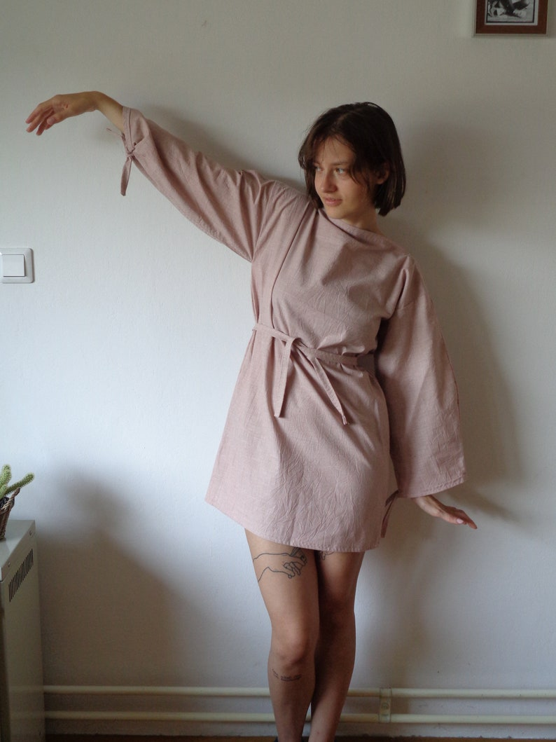 linen-cotton DRESS with belt and long sleeves hand made from image 1