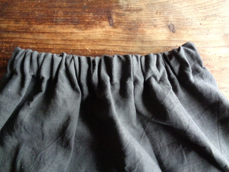 wide heavy linen SKIRT short midi long with pockets or image 0