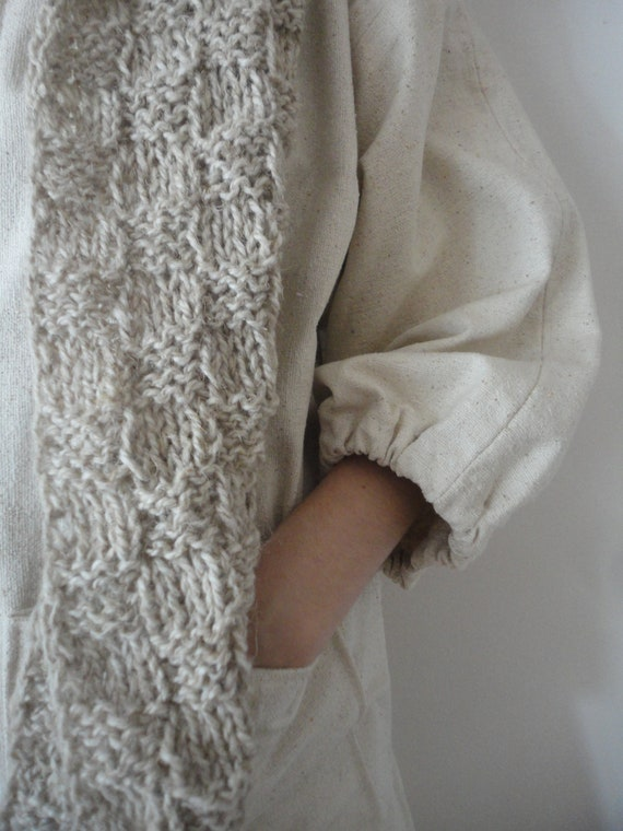 long SCARVE, hand knitted from natural unprocessed wool in beige / creme or dark brown or hemp-wool mixture in natural color