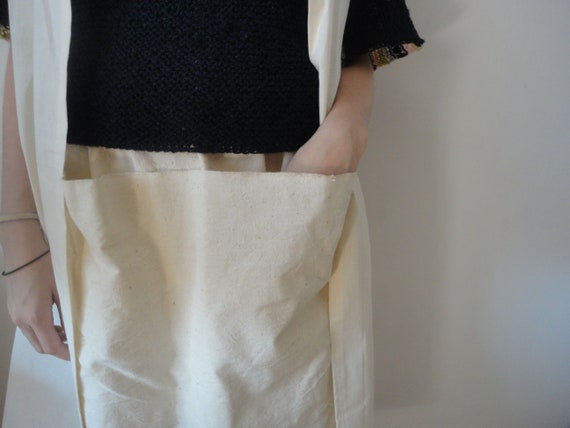 simple raw cotton SKIRT (short, midi, long) with front or back pockets, handmade from handwoven cotton in off white, cobalt or indigo blue