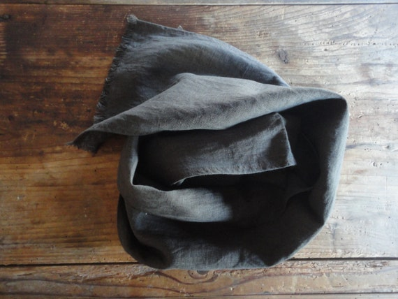 heavy linen SCARVE / SHAWL with fringes or without, hand - made from heavy weight linen in different colors