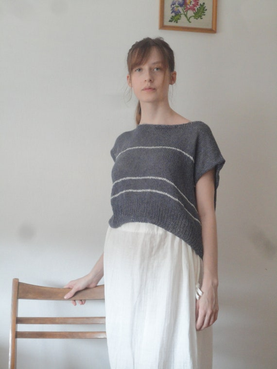 OUTFIT nr. 1 // white soft double gauze skirt and blue knitted cotton top with white stripes (SPRING / SUMMER 2019)