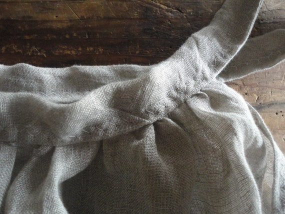 linen gauze DRESS (summer, sleeve less) _ with raw or plain edge, hand made from very light linen gauze in natural or white