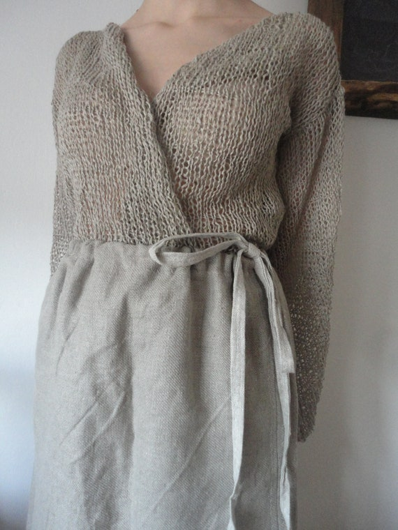 knitted linen CARDIGAN / VEST (long sleeve, 3 / 4 sleeve or without sleeves), hand knitted from linen in natural, grey, blue or other colors