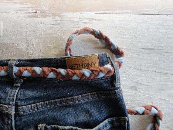 COTTON belt, hand knitted from thick cotton in different color combinations