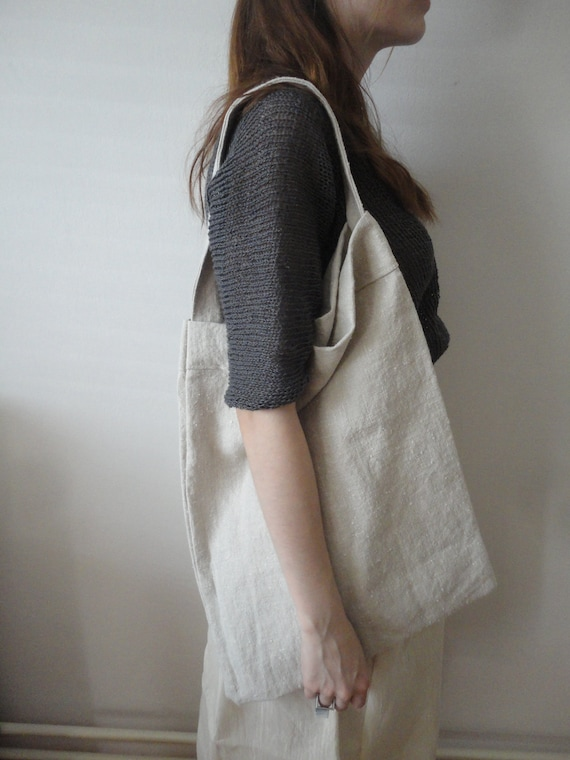 soft LINEN shoulder bag, hand-made from heavy vintage linen with beautiful soft structure and light grey color