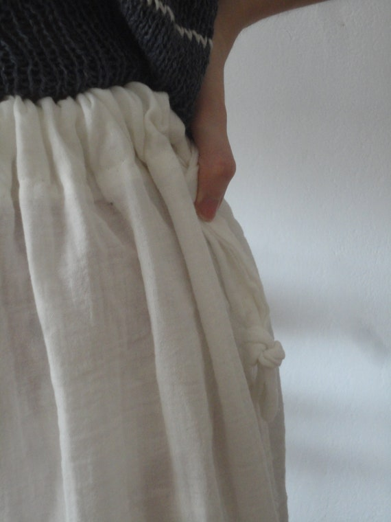 cotton double gauze SKIRT (short, midi, long) with ties, handmade from soft cotton double gauze in white, off white or other color
