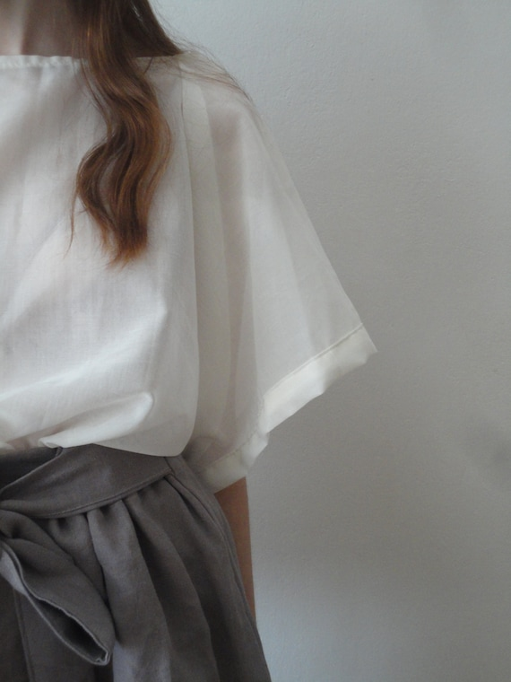 silky sheer TUNIC / TOP with kimono sleeves, hand made from very light and silky cotton in natural white / creme