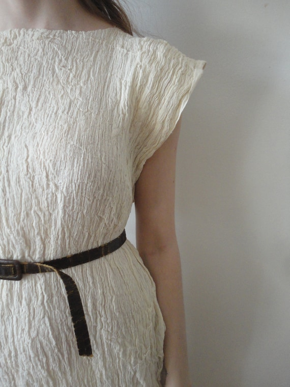 simple cut DRESS, hand made from crinkled cotton in off white // only one available