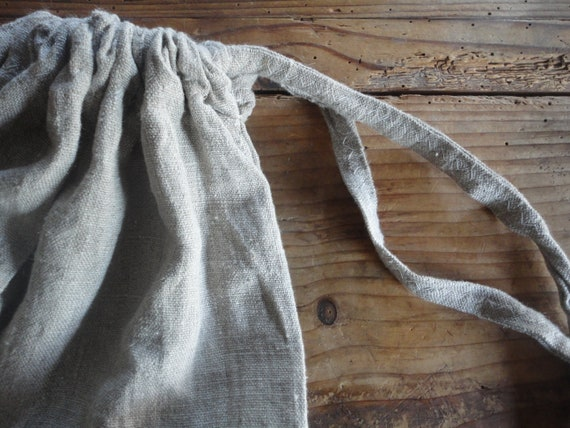 large LINEN string sack, made from heavy rough linen in natural color / per request also other color of linen or other fabric possible