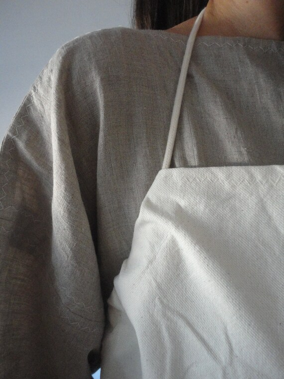 heavy raw cotton APRON  _ robust, for work-shop or other handcrafts, hand-made from raw and heavy cotton canvas in off white