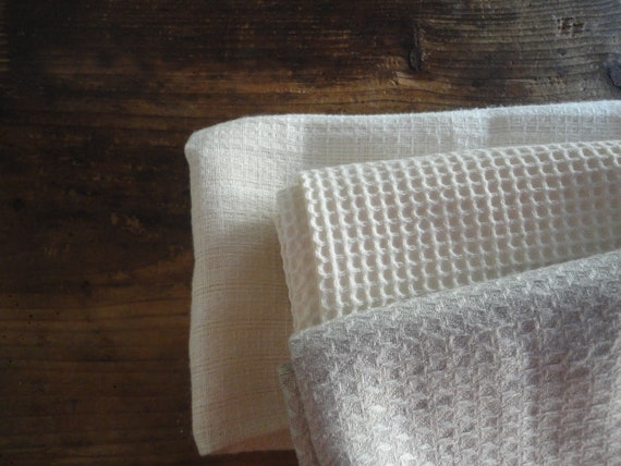 very soft TOWELS (face, hand, bath), handmade from very soft organic cotton, hemp or linen pique / waffel fabrics
