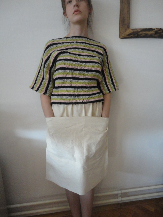 simple knitted SWEATER / PULLOVER with kimono sleeves (short or long), hand knitted from natural wool in different color combinations