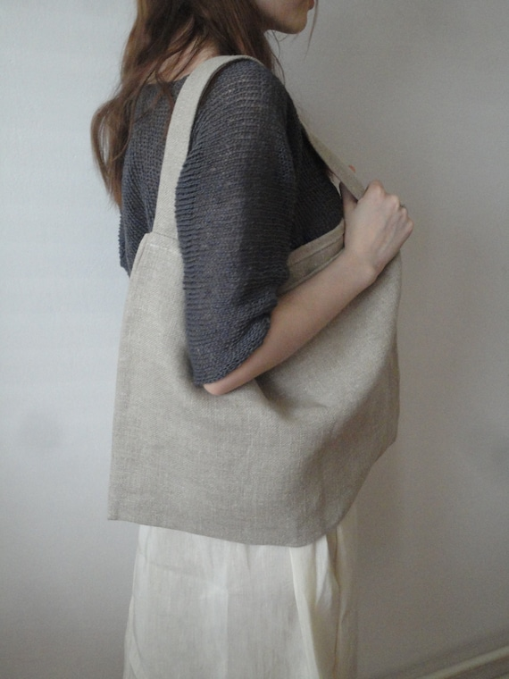 organic LINEN shoulder bag, hand-made from organic linen with beautiful smoothly rough structure in its natural color