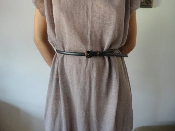 linen jersey DRESS (raw edge, simple cut), hand made from light linen jersey in pink // ONLY one left