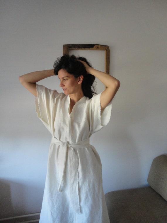 soft hemp kaftan dress in creme / off white, ONLY ONE left