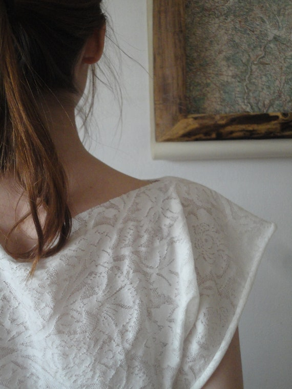 simple cut TOP / SHIRT / DRESS (short or long sleeves _ butterfly), hand made from sheer white floral organic cotton - silk jersey