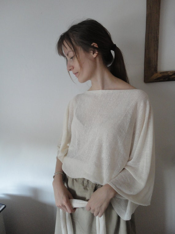 linen jersey TOP / SWEATER (raw edge, simple cut) with butterfly sleeves (short,long,3/4), made from light linen jersey in different colors