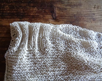 soft knitted raw silk TOP / VEST, hand made from soft raw silk in creme