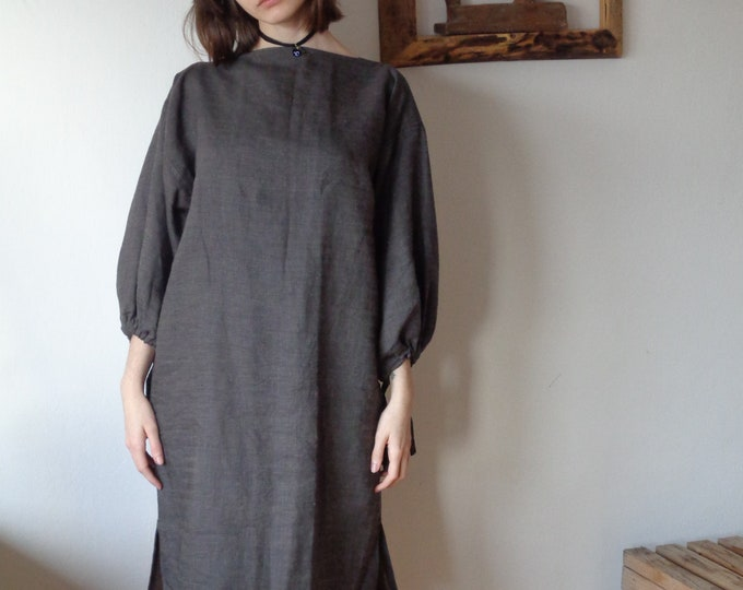 Featured listing image: OUTFIT 11 // winter 2020: linen-wool dress (kimono or gathered sleeves) + wool-linen tote (size S - M)