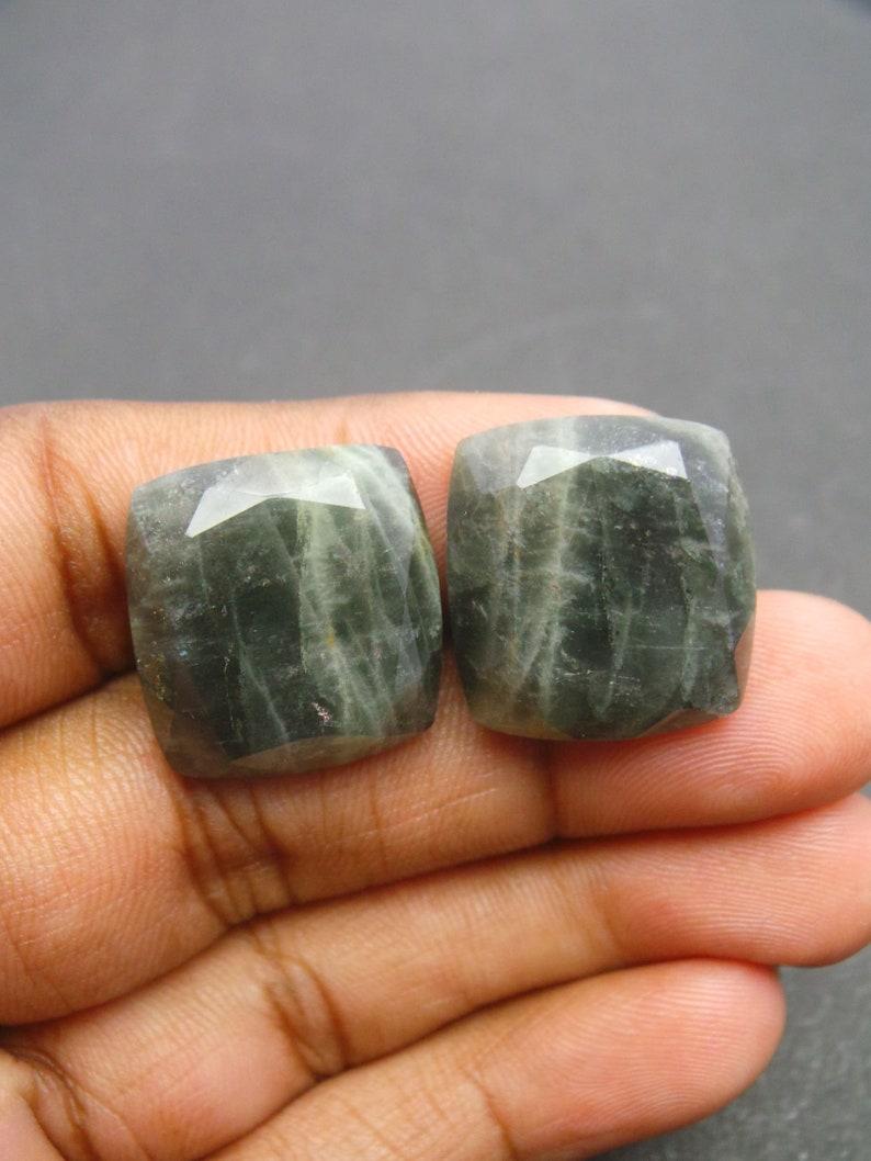 Moss Aquamarine Gemstone Cabochon-Natural Moss Aquamarine Faceted Cut Rectangle Cabochon-21x20 MM-1 Pair-High Quality-Wholesalegems