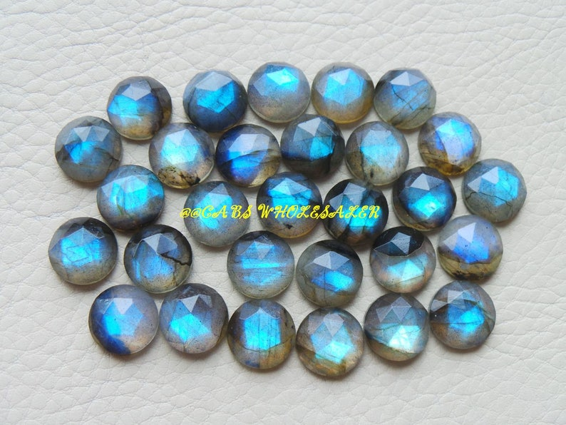 Labradorite Faceted Rose Cut Round Cabochon AAA Quality Strong Flashy 9 MM Labradorite Cabochons Wholesalegems 10 Pcs
