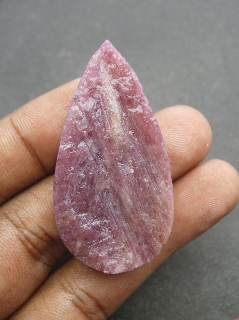 Rare Pink Tourmaline Gemstone-Tourmaline Druzy Cabochons-Natural Pink Tourmaline Druzy Hammered Pear Cabochon-48.5x25x8 MM-Wholesalegems