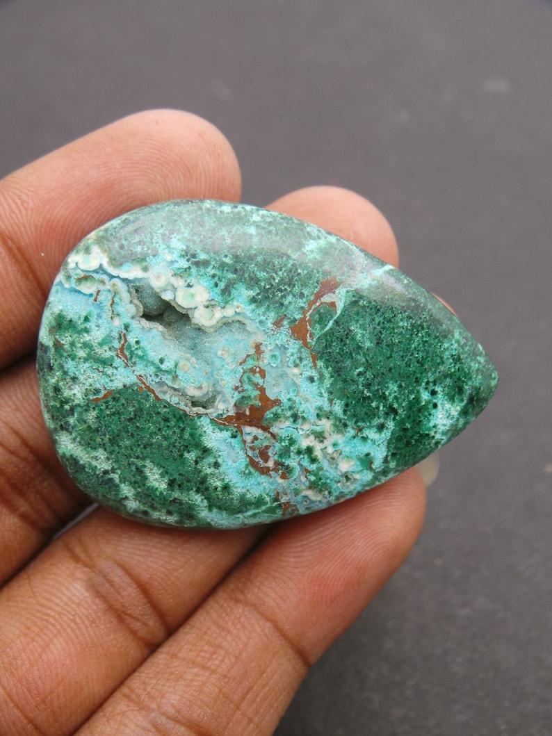 Chrysocolla Pear Gemstone Druzy-Chrysocolla Druzy Cabochons-Natural Chrysocolla Druzy Smooth Pear Cabochon-47x33.5x7 MM-Wholesalegems #13945