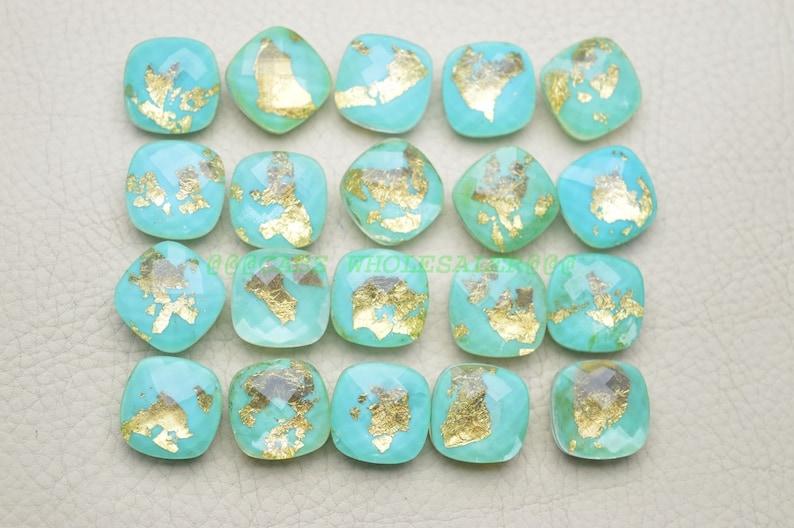 Crystal Turquoise Gemstone Doublet-Turquoise Briolettes-Crystal Turquoise Faceted Cushion Briolettes Doublet-16 MM Wholesalegems #14629
