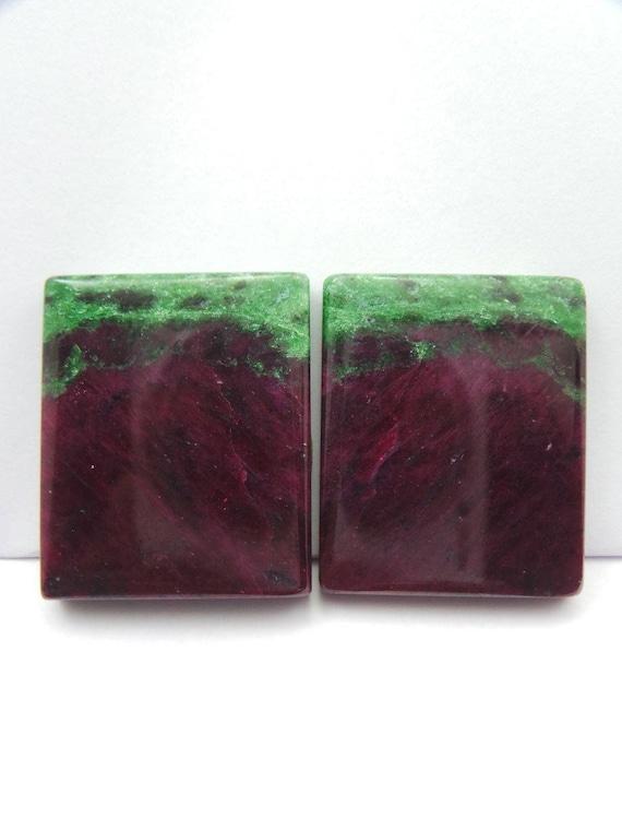 Ruby Zoisite Gemstone Zoisite Cabochon-Ruby Zoisite Gemstone Cabochons-Natural Ruby Zoisite Smooth Baguette Cabochon-33.5x28 MM-1 Pair-Wholesalegems 63afd5