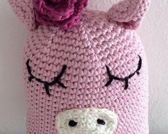 Ernestina la maialina con la rosellina. Animaletto uncinetto, giocattolo per bambini,  amigurumi crochet, poupée crochet, soft toy, doudou.